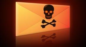Spam, virus, enveloppe d'email de Phishing Photos stock