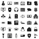 Spam virus icons set, simple style Royalty Free Stock Images