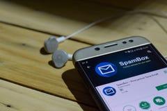 SpamBox dev zastosowanie na Smartphone ekranie Anonimowy zastępca email jest freeware przeglądarką internetową rozwijać pociska g obrazy stock