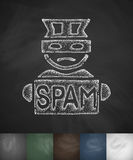 Spammer icon. Hand drawn vector illustration. Chalkboard Design Royalty Free Stock Photo