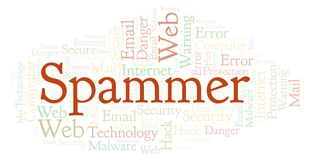 Spammer word cloud. Wordcloud made with text only royalty free illustration