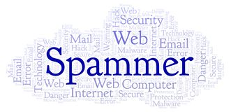 Spammer word cloud. Wordcloud made with text only stock illustration