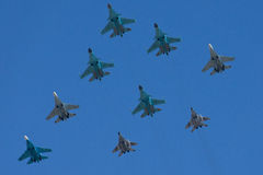 The span of the aircraft on a victory parade in Moscow Royalty Free Stock Image