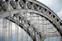 Span of Bolsheokhtinsky Bridge close up. Span of Bolsheokhtinsky Bridge, St. Petersburg, Russia royalty free stock image