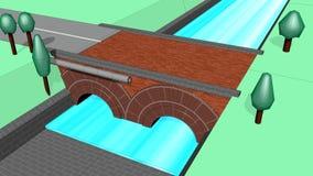 Span bridge brick stock footage