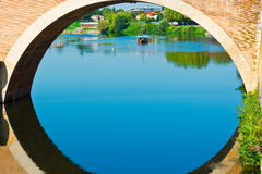 Span. Of the Bridge in French City of Terrasson stock image