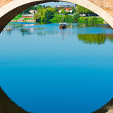 Span. Of the Bridge in French City of Terrasson royalty free stock photos