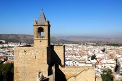 Castle tower and town view, Antequera, Spain.