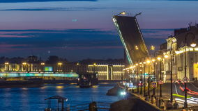Span of the Liteyny Bridge is lifted over the river Neva timelapse. White night in the St.-Petersburg. Span of the Liteyny Bridge is lifted over the river Neva stock footage