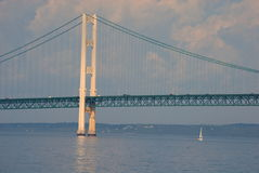 A Span of The Mighty Mac. With a sailboat Stock Photo