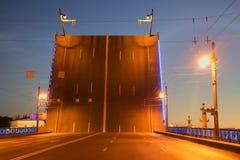 The span of the Palace bridge closeup summer night. Saint-Petersburg Royalty Free Stock Photo