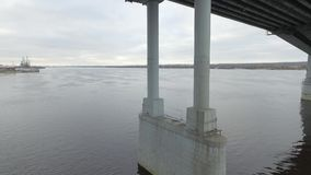 The span between the pillars of the bridge stock video