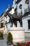Countess of Barcelona statue, Seville, Spain. Statue of the Countess of Barcelona on horseback Condesa de Barcelona, Seville, Seville Province, Andalusia, Spain royalty free stock images