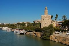 Tower of Gold and river Guadalquivir, Seville, Spain. royalty free stock images