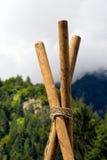 Spana Construction med Poles och rep Arkivfoto