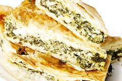 Spanakopita,希腊菠菜片式 图库摄影