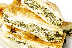 Spanakopita, part grecque d'épinards Photographie stock