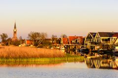 Small village of Spanbroek, North Holland, Netherlands. stock images