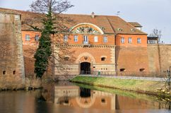 Spandau Citadel with its gate house and a draw bridge in Berlin, Germany. Spandau Citadel, one of the best preserved Renaissance military structures of Europe royalty free stock images