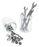 Spaners, Nuts and Bolts in Glass Jar Stock Photography