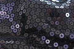 Spangle, cekinu pailette tło Czarnej cekinu lustra sukni tekstury materialny sukienny wzór Krawiectwa zaszywanie Zdjęcia Royalty Free