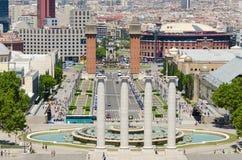 Spanie kwadrat w Barcelona Hiszpania zdjęcia stock