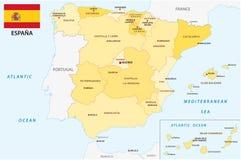 Spanien administrativ och politisk vektoröversikt med flaggan Arkivbild