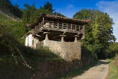 Spanien Asturias, Cornellana, horreo - traditionell ladugård Royaltyfri Foto