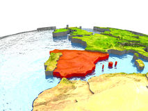 Spanien auf Erde im Rot lizenzfreie abbildung