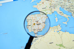 Spanien auf Google Maps Stockfotos