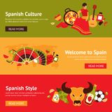 Spanien-Fahnensatz Stockfotografie