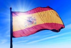 Spanien fahnenschwenkend auf dem Wind Stockfotos
