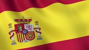 Spanien flagga med emblemet som vinkar i vinden som animeras stock video