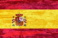 Spanien-Flagge auf hölzernem Beschaffenheitshintergrund Stockbild