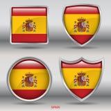 Spanien-Flagge in der Sammlung mit 4 Formen mit Beschneidungspfad Stockbilder