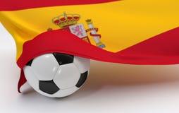 Spanien-Flagge mit Meisterschaftsfußball Stockfoto