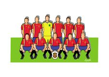 Spanien fotbollslag 2018 stock illustrationer