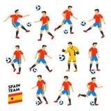 Spanien-Fußballteam Spanien-Fußballspieler Volles Fußballteam, 11 Spieler Spanische Fußballspieler auf verschiedenen Positionen Stockbilder