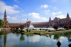 Spanien fyrkant i Sevilla, Spanien Royaltyfri Bild