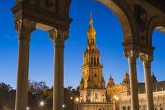 Spanien fyrkant i Seville, Andalusia, Spanien arkivbilder