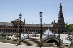 Spanien fyrkant i Seville, Spanien, Europa Arkivbilder