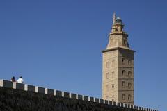 Spanien Galicia, en Coruna, Hercules Tower Lighthouse Royaltyfria Foton