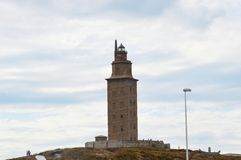 Spanien Galicia, en Coruna, Hercules Tower Lighthouse Royaltyfri Bild