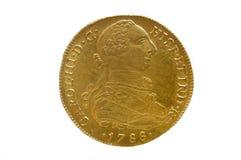 Spanien guld- mynt av den Carlos III konungen, Royaltyfri Bild