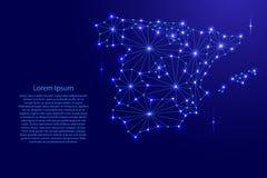 Spanien-Karte des polygonalen Mosaiks zeichnet Netz, Strahlen, Raumsterne Lizenzfreie Stockfotos