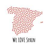 Spanien-Karte mit roten Herzen - Symbol der Liebe entziehen Sie Hintergrund vektor abbildung
