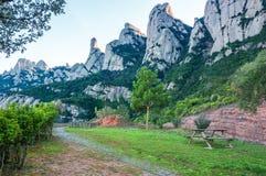 spanien katalonien Straße in Santa Maria de Montserrat Abbey Picni Lizenzfreies Stockbild
