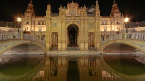 Spanien kvadrerar Plaza de Espana, Seville, Spanien royaltyfri foto