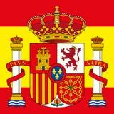 Spanien lag av armen och flaggan Arkivbild