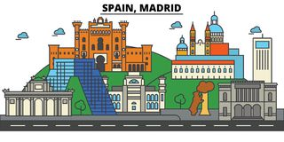 Spanien, Madrid Stadtskylinearchitektur editable stock abbildung